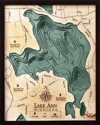 Lake Mi Depth Chart Lake Ann Michigan Wood Carved Topographic Depth Chart Map