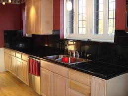nice tile window without curtain on red wall paint closed types of kitchen countertops and wooden nice types kitchen