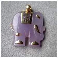 14k gold and lavender jade elephant pendant