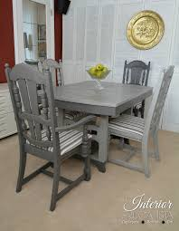 painted dining room set light and dark gray