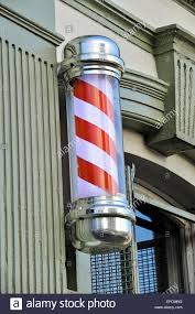 Barber Shop Candy Cane Light Red And White Barbers Pole Stock Photo 78340740 Alamy