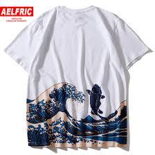 Aelfric Eden японский стиль волна печатных футболки 2019 лето хип