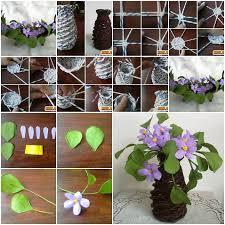 News Paper Flower Vase Diy Beautiful Paper Vase And Purple Flowers