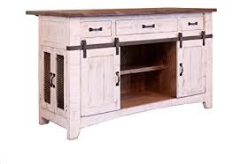 burleson home furnishings anton farmhouse solid wood distressed white sliding barn door kitchen island with storage