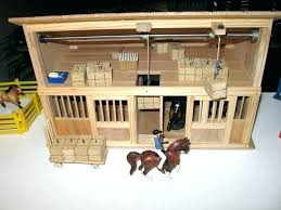 wooden toy horse barn play with working hay bale hoists designs how to make a breyer wooden toy horse barn