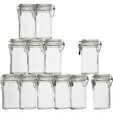 mini oval e herb jars with clamp set of 12 reviews crate and barrel