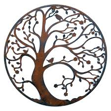 rusted classic design tree leaf branch birds awesome outside circular metal wall art pinterest home furniture on rustic outdoor metal wall art with wall art top 10 circular metal wall art gallery round wall art