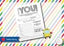 Printable Surveys Fascinating Back To School Teacher Survey Printable Instant Download Etsy
