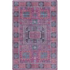 surya greta 2 x 3 hand knotted wool rug in purple and pink
