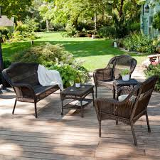 dark brown contemporary wooden wicker patio furniture cheap with pot and grass sained design ideas