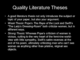 quality literature theses a good literature thesis not only  1 quality literature theses