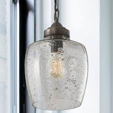 1 light stone seeded glass pendant