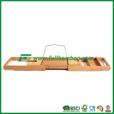 100 bamboo bathtub caddy with extendable sides book stand ellphone tray integrated wineglass holder