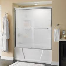 delta simplicity 60 in x 58 1 8 in semi frameless sliding bathtub door in chrome with rain glass 2435521 the home depot