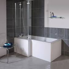 Milan Shower Bath 1700mm L Shaped With Double Hinged Screen L Shaped Tub Shower Combo