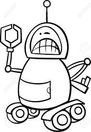 黒と白の漫画イラストや塗り絵の怒っているロボットの