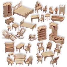 Doll House Furniture Set Woodcraft Construction Kit 1 24 Scale