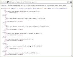 opening an xml sitemap in a web browser here for walmart