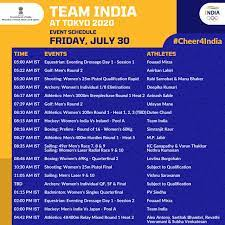 India at Tokyo Olympics Schedule, July ...