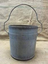 Vintage Galvanized Metal Bucket Rare Handle > Antique Old Iron Pail Pot 9383