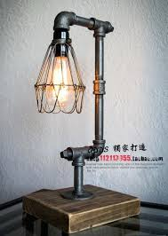 accent table lamps loft vintage industrial water pipe desk light wood bar coffee club