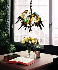 makernier vintage tiffany style stained glass tree branches 5 arms parrots chandelier