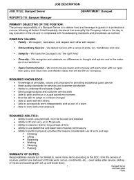 food service job description resume resume for server job food server job description