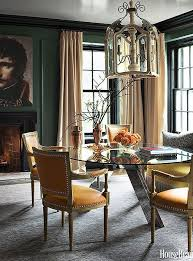 stunning traditional dining room with forest green walls beige satin curtains and saffron yellow dining