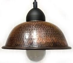good hammered antique copper bowl pendant light design for rustic kitchen