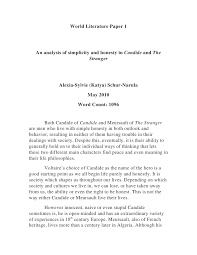 world literature paper  world literature paper 1<br >an analysis of simplicity and honesty in candide