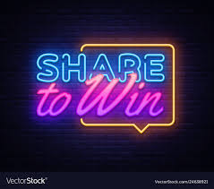 Design To Win Share To Win Neon Text Design Template