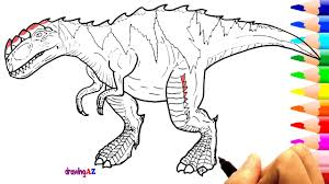 Small Picture Drawing and Coloring Gorgosaurus Dinosaur in Jurassic World and
