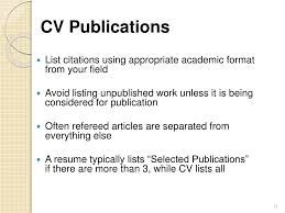 How To Cite Article In Cv Preparing A Curriculum Vitae Cvsorted List