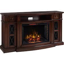 scott living 72 in w 5 200 btu chestnut mdf infrared quartz electric fireplace with