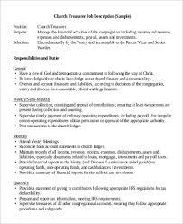 sample church treasurer job description