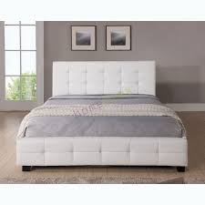 Queen Upholstered White Leather Bed Frame Tommy X Best White Bed ...