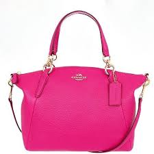 Coach F36675 IMBAJ Pebbled Leather Small Kelsey Crossbody Satchel Bag -  Pink Ruby