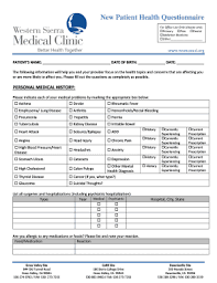 Fillable Online Wsmcmed New Patient Health Questionnaire