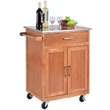 costway wood kitchen trolley cart stainless steel top rolling island storage cabinet restaurant table butcher block
