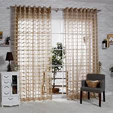 Living Room Curtain Design Stunning Amazon RLANG Solid Grommet Top Square Lattice Living Room