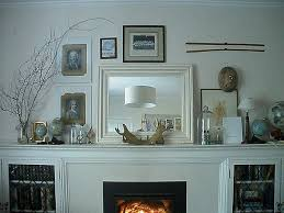 Decorating Fireplace Mantels in Modern Art Way : White Fireplace Mantels  Decorating With Globe And Mirror