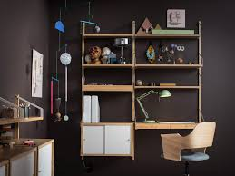 ikea office shelves. A Home Office With Wallmounted Shelving Unit In Bamboo Desk Combined Ikea Shelves R