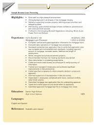 Sample Resume For Loan Processor Sample Resume For Loan Cool Loan Processor Resume Samples Free 4