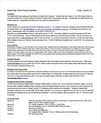 February Newsletter Template Sample Weekly Newsletter Template 12 Free Documents