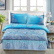 blue print style queen size bedding quilt doona duvet cover set 2 pillow