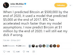 John Mcafee Makes Headlines Again With Bets On The Price Of