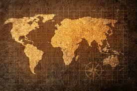 golden world map wall mural