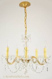 5 candle maria theresa style crystal chandelier circa 1940s