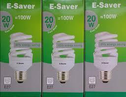 Es E27 Energy Saving Light Bulbs E Saver Cfl Full Spiral Energy Saving Light Bulbs 20w 100 Watt Pack Of 3 Cool White 4200k Screw In Cap Screw Edison Es E27