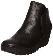 fly london fly london yogi black leather new womens ankle wedge shoes boots women s